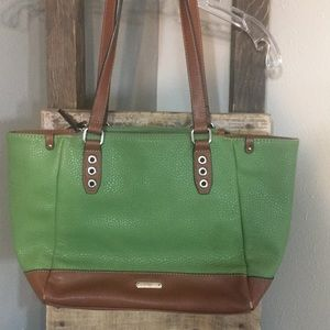 Chaps shoulder bag with straps green brown large